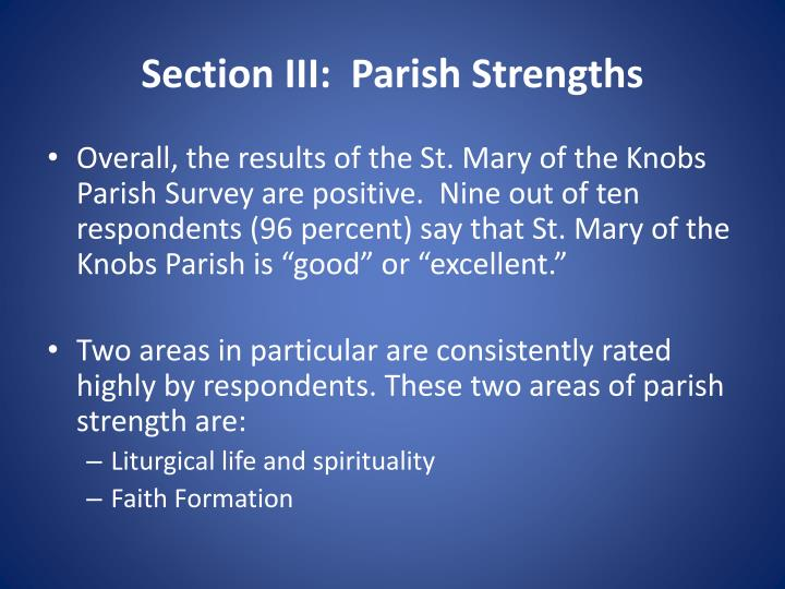Section III:  Parish Strengths