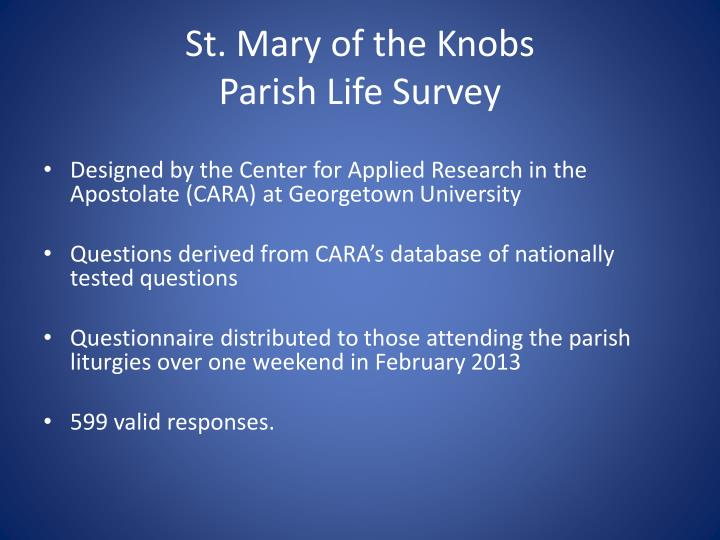 St mary of the knobs parish life survey