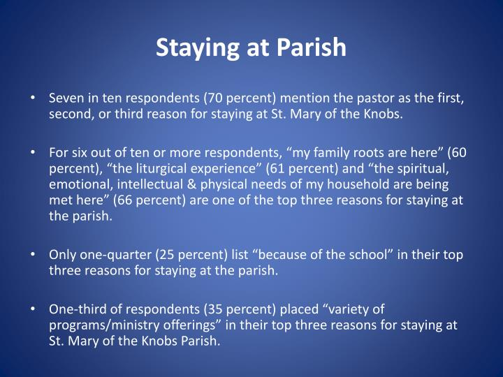 Staying at Parish