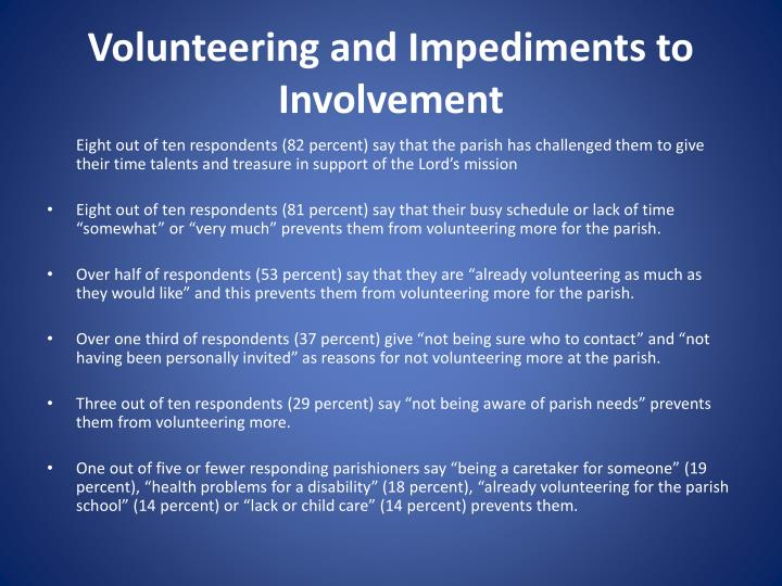 Volunteering and Impediments to Involvement