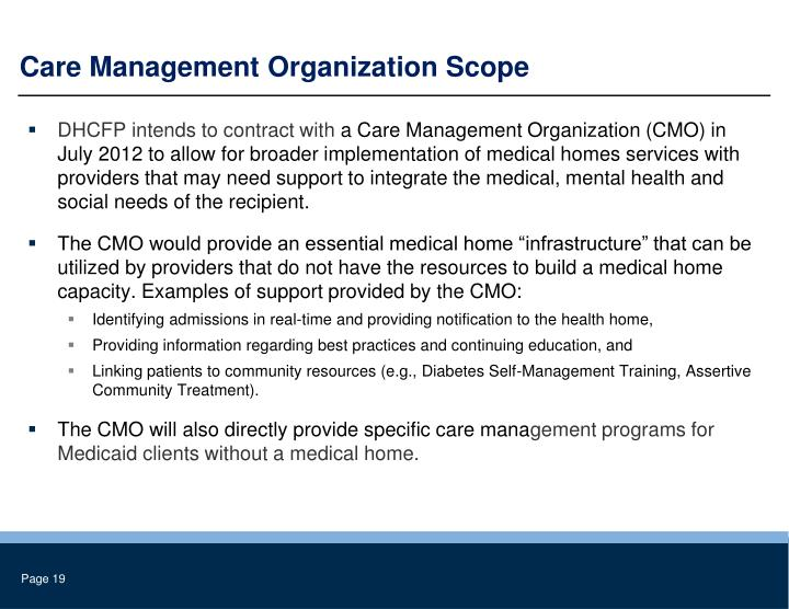 Care Management Organization Scope