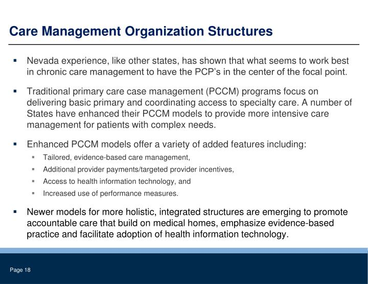 Care Management Organization Structures