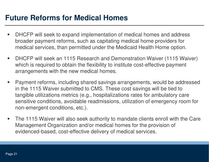 Future Reforms for Medical Homes