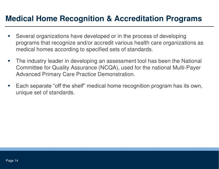 Medical Home Recognition & Accreditation Programs