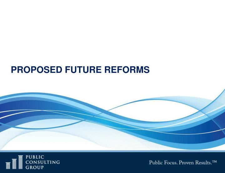 PROPOSED FUTURE REFORMS