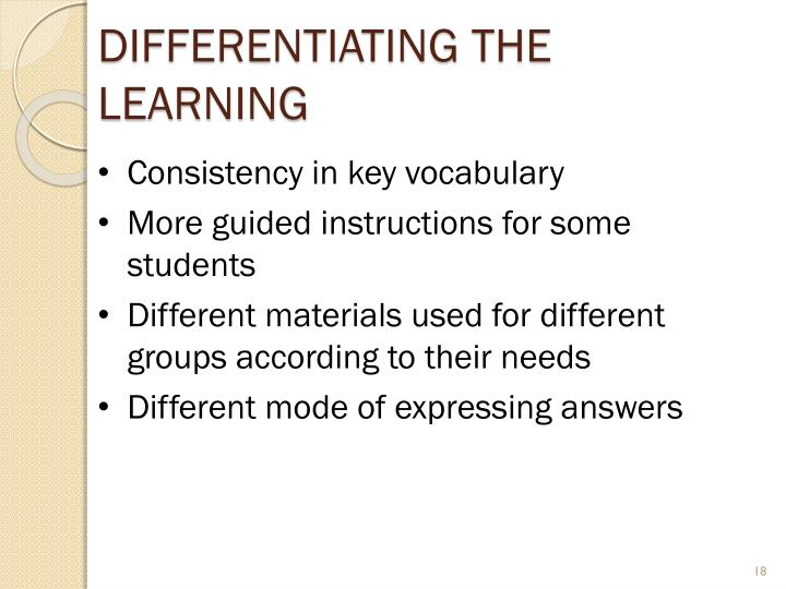 Differentiating the Learning