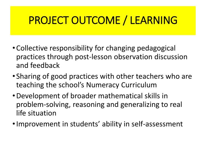 PROJECT OUTCOME / LEARNING