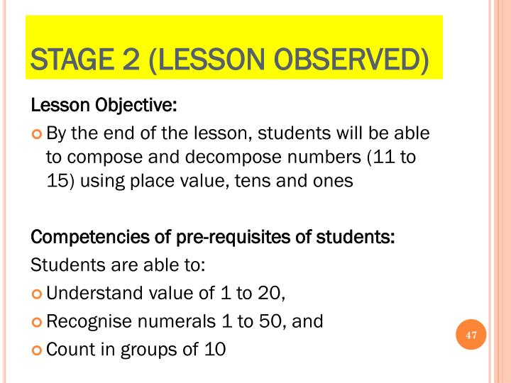 Stage 2 (Lesson Observed)