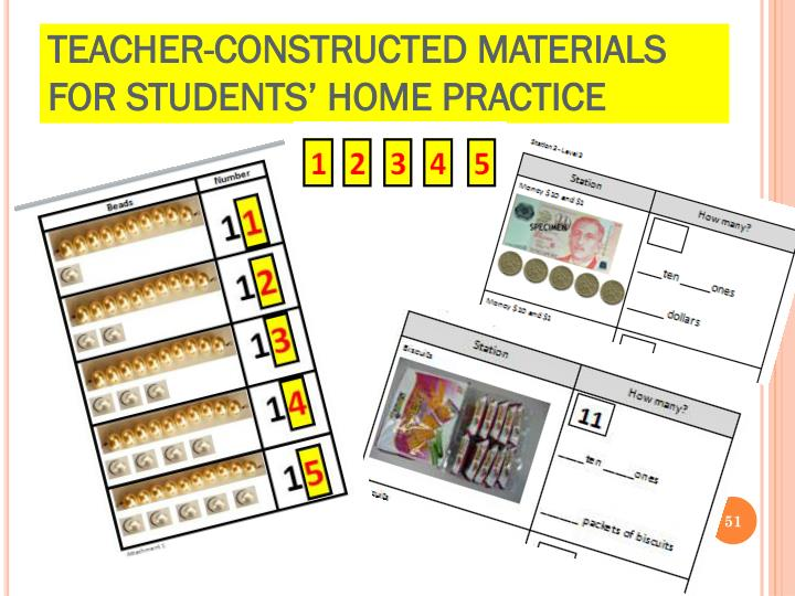 Teacher-constructed Materials for students' home practice