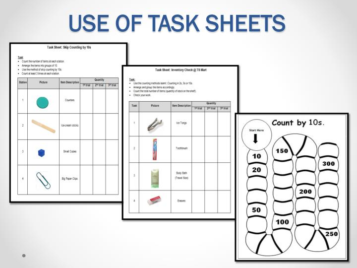 USE OF TASK SHEETS