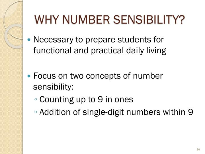 Why Number Sensibility?