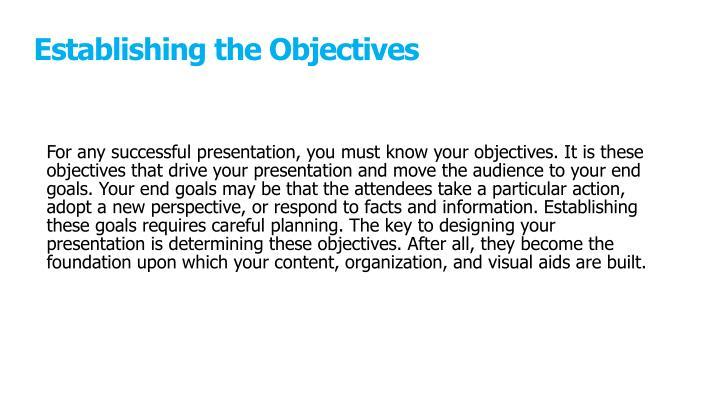 Establishing the Objectives