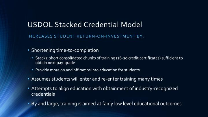 USDOL Stacked Credential Model