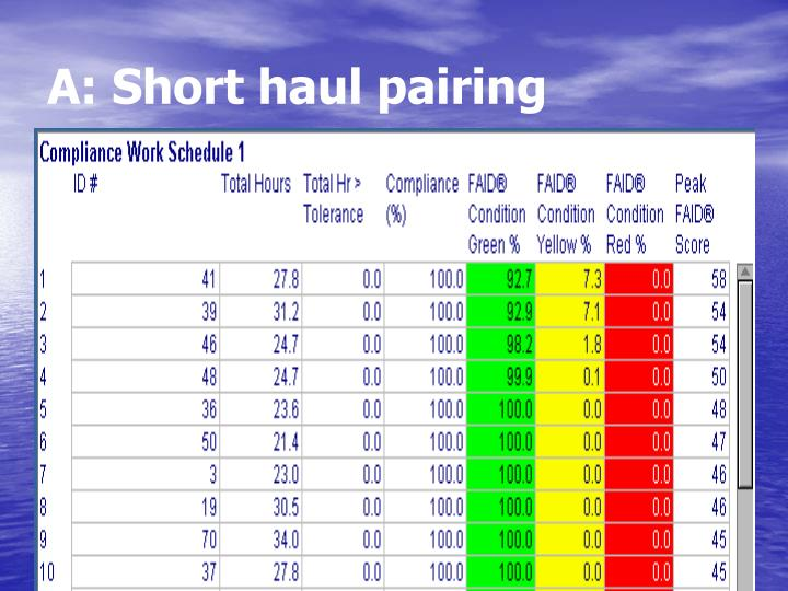A: Short haul pairing