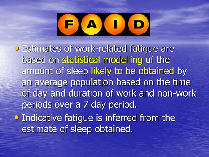 Estimates of work-related fatigue are based on