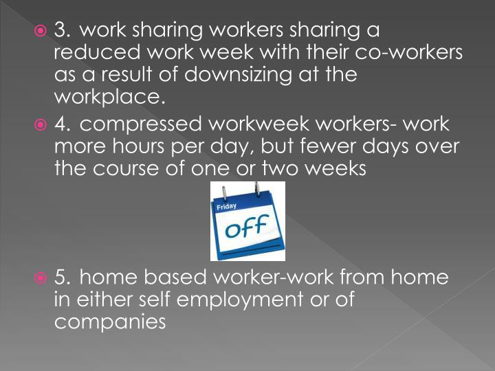 3.work sharing workers sharing a reduced work week with their co-workers as a result of downsizing at the workplace.