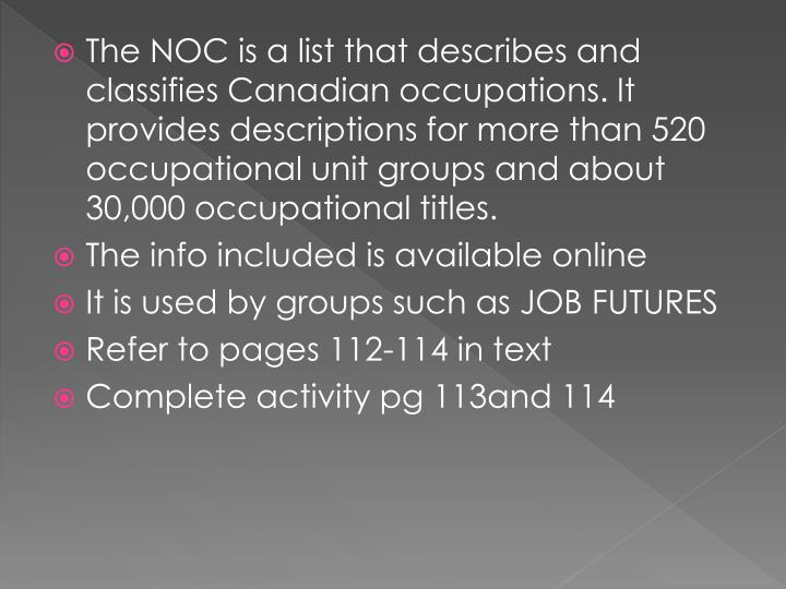 The NOC is a list that describes and classifies Canadian occupations. It provides descriptions for more than 520 occupational unit groups and about 30,000 occupational titles.