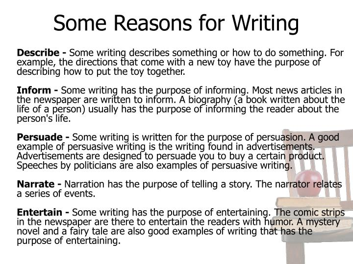 Some Reasons for Writing