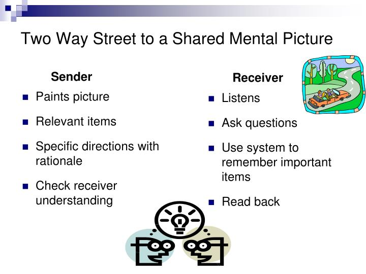 Two Way Street to a Shared Mental Picture
