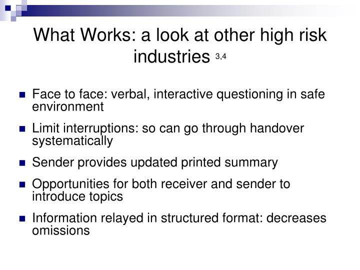 What Works: a look at other high risk industries