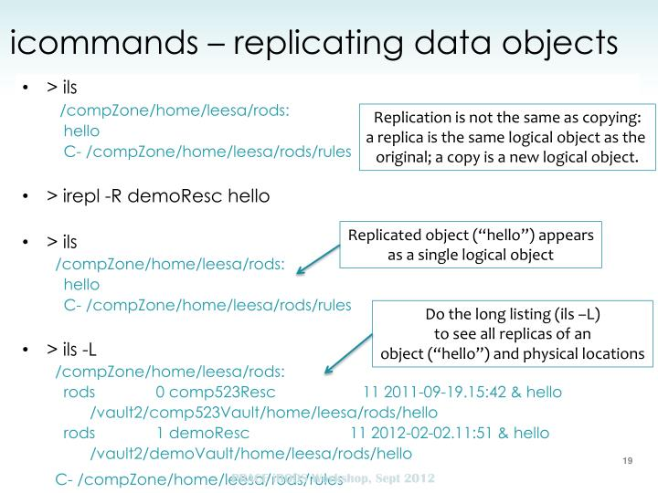 icommands – replicating data objects