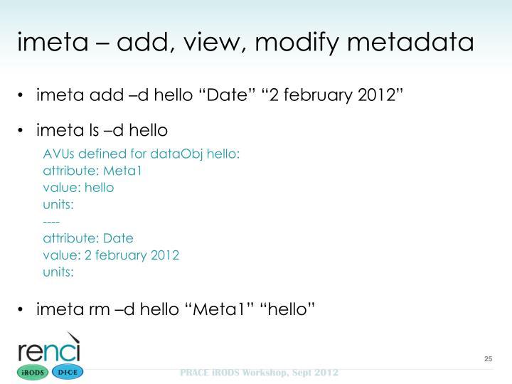 imeta – add, view, modify metadata