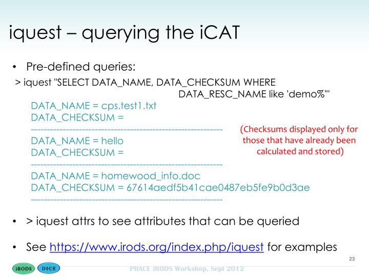iquest – querying the iCAT