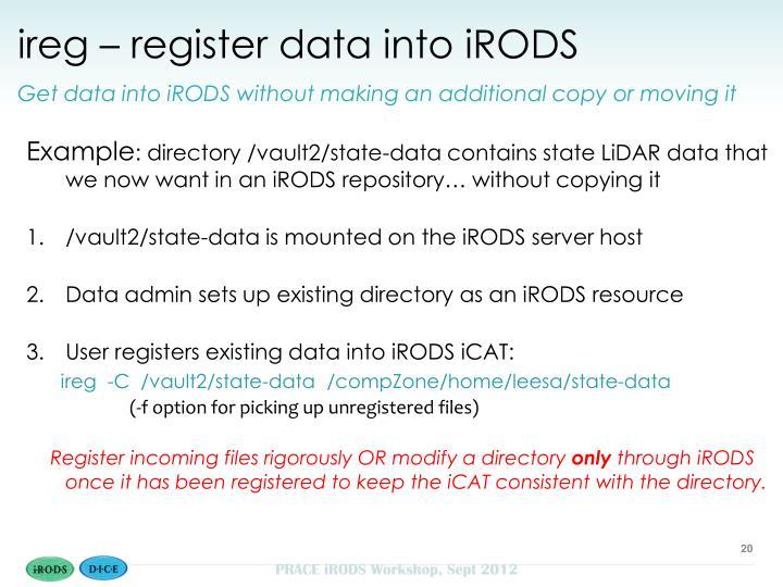 ireg – register data into iRODS