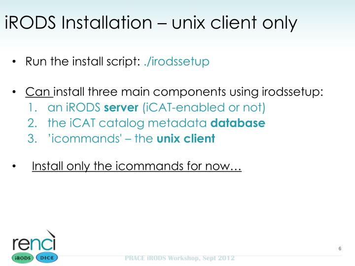 iRODS Installation – unix client only
