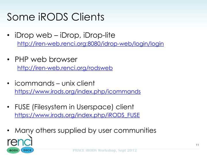 Some iRODS Clients