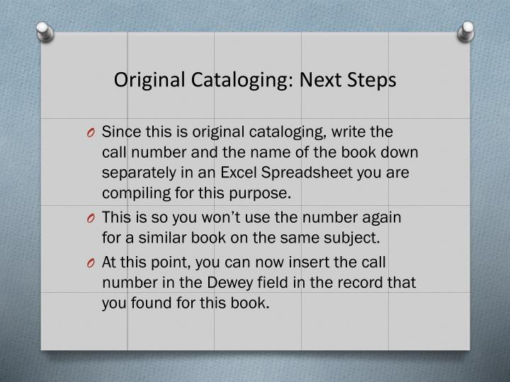 Original Cataloging: Next Steps
