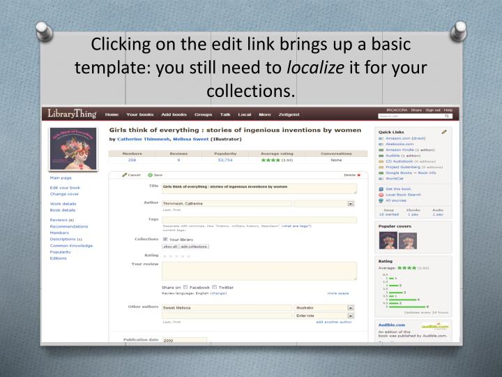 Clicking on the edit link brings up a basic template: you still need to