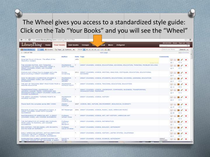 "The Wheel gives you access to a standardized style guide: Click on the Tab ""Your Books"" and you will see the ""Wheel"""