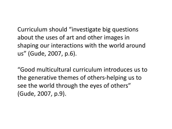 """Curriculum should """""""
