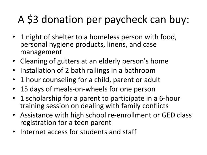 A $3 donation per paycheck can buy: