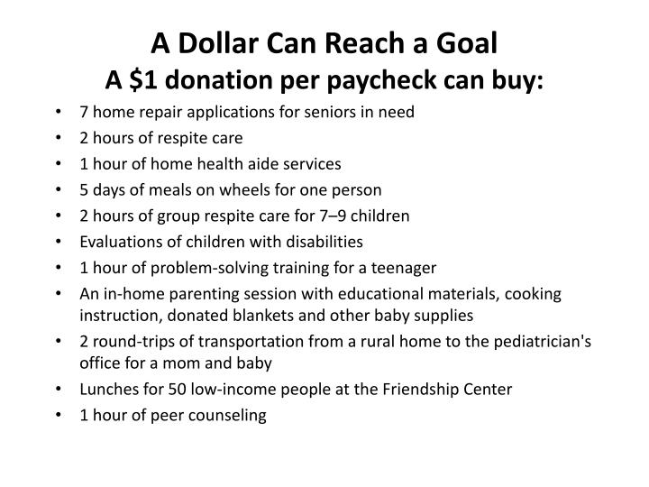 A Dollar Can Reach a Goal