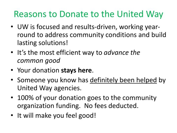 Reasons to Donate to the United Way