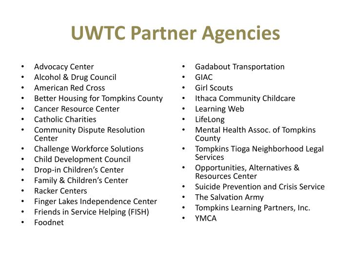 UWTC Partner Agencies