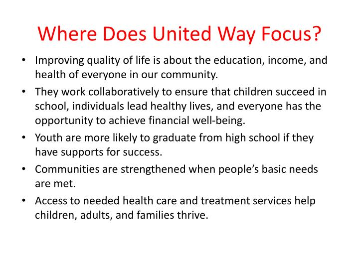 Where does united way focus
