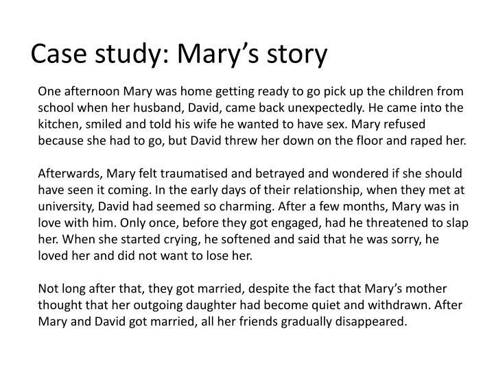 Case study: Mary's story