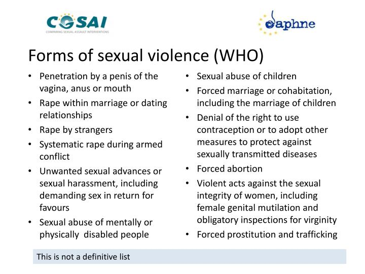 Forms of sexual violence (WHO)