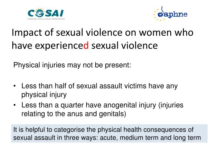Impact of sexual violence on women who have experience