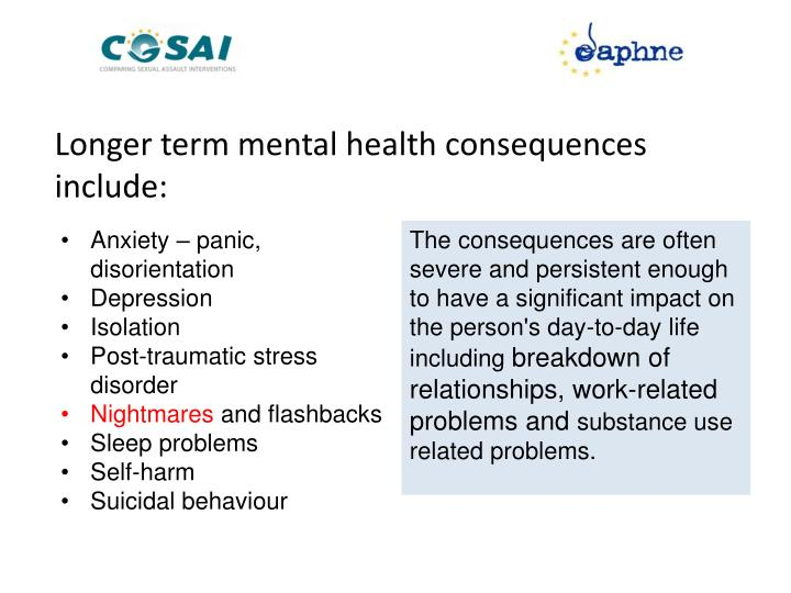 Longer term mental health consequences include: