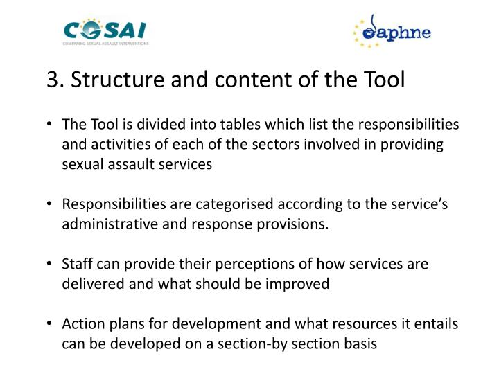 3. Structure and content of the Tool