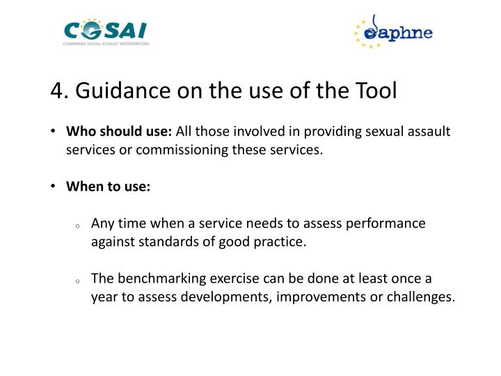 4. Guidance on the use of the Tool
