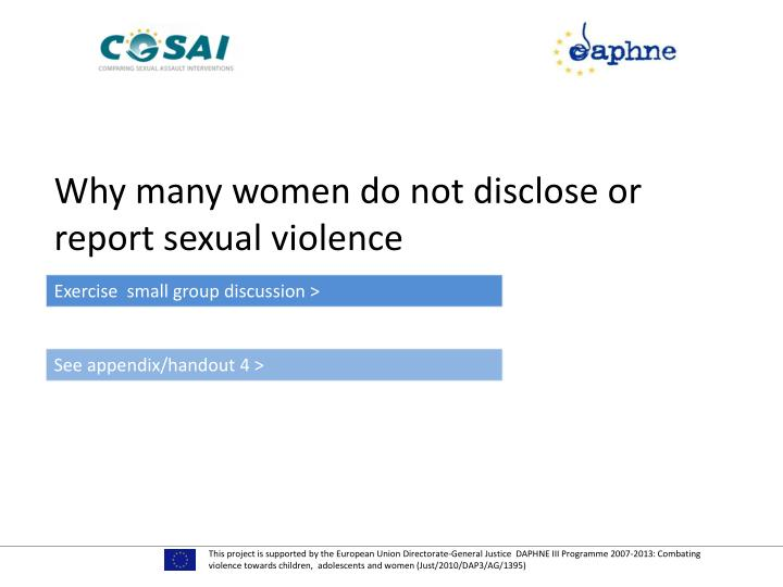 Why many women do not disclose or report sexual violence