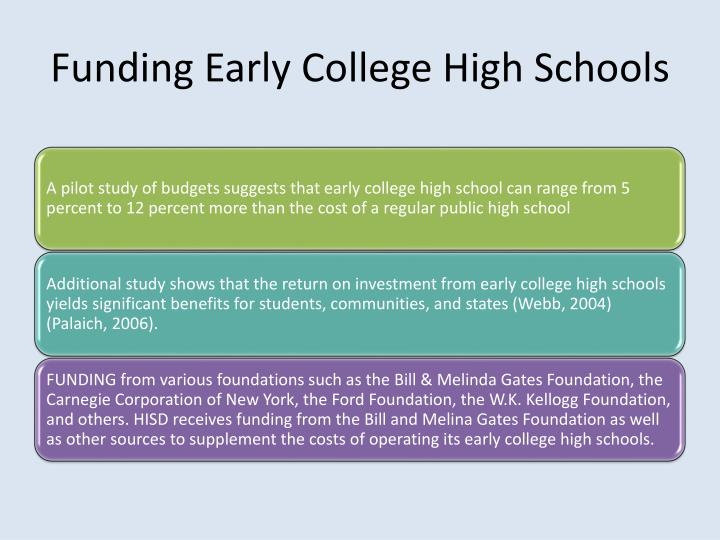Funding Early College High Schools