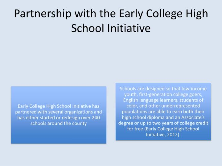 Partnership with the Early College High School Initiative