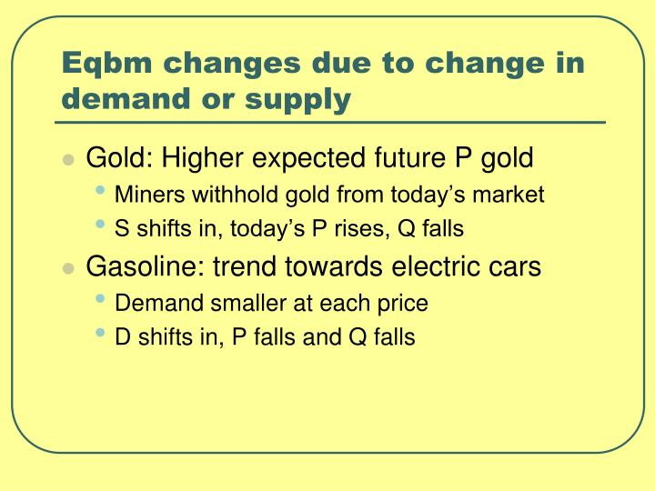 Eqbm changes due to change in demand or supply