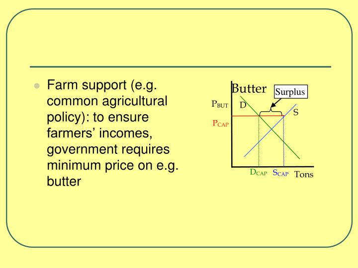 Farm support (e.g. common agricultural policy): to ensure farmers' incomes, government requires minimum price on e.g. butter